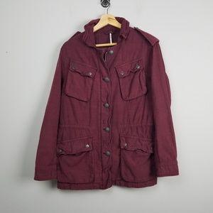 Free People Jacket Womens Size Small Burgundy Coat